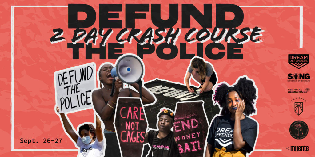 """Defund the Police Crash Course graphic with someone speaking into a megaphone while others holding and making signs saying """"Defund the Police"""", """"Care Not Cages"""" and """"End Money Bail""""."""